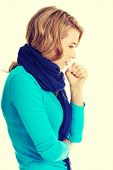 image of cough  - Young woman has a flu - JPG