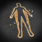 picture of obesity  - Dieting and body health concept as a chalk drawing on a road surface with an obese person and a thin one inside as a weight loss goal symbol for a healthy fitness diet and exercise lifestyle - JPG