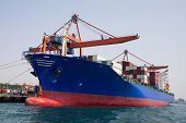 picture of loading dock  - Container Ship is loading in a port - JPG