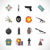 picture of war terror  - Terrorism icons set with different type of terror crimes symbols isolated vector illustration - JPG