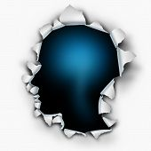 image of neurology  - Inside of you human thinking concept as a paper burst hole with ripped torn edges shaped as a head on a white sheet that has been punctured or punched open as a symbol for understanding the mind and brain function or feelings and emotion - JPG