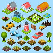stock photo of combine  - Farm toy blocks modeling mill harvesting combine and chicken house isometric icons set isolated abstract vector illustration - JPG