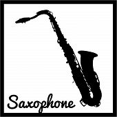 picture of saxophones  - Isolated silhouette of a Saxophone - JPG