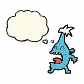 stock photo of creatures  - cartoon funny creature with thought bubble - JPG