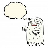 image of grossed out  - cartoon gross slime ghost with thought bubble - JPG