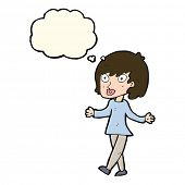 stock photo of open arms  - cartoon woman with open arms with thought bubble - JPG