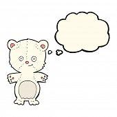 image of bear cub  - cartoon polar bear cub with thought bubble - JPG