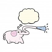 foto of squirt  - cartoon elephant squirting water with thought bubble - JPG