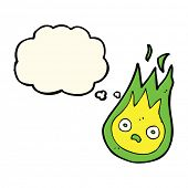 pic of fireball  - cartoon friendly fireball with thought bubble - JPG