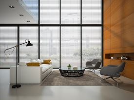 pic of louvers  - Interior of the room with wooden panel wall 3D rendering - JPG
