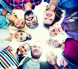 pic of huddle  - Friendship Huddle Happiness Beach Summer Concept - JPG