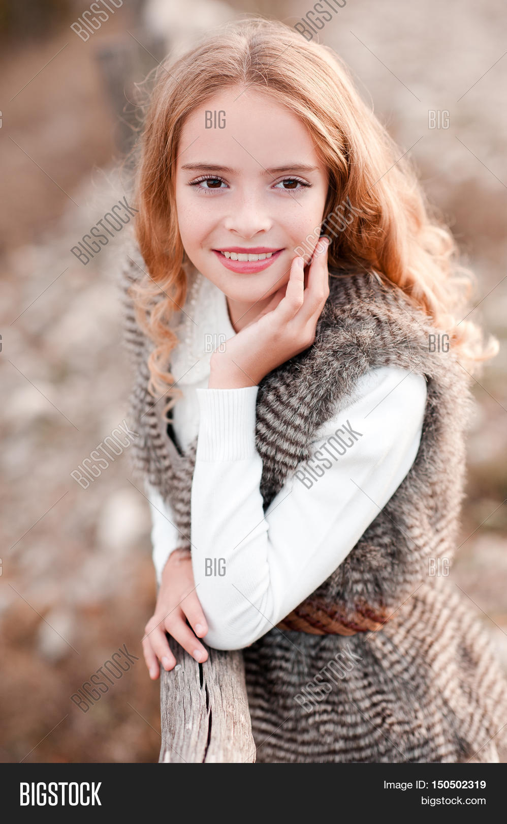 Smiling Blonde Kid Girl 13-14 Year Image & Photo