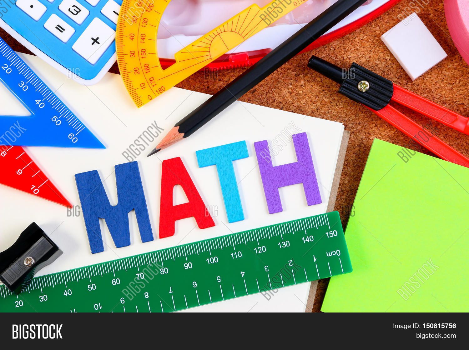 school math office supplies wood letters as math word with mathematics drawing icon math