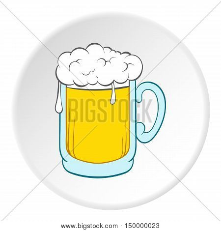 Glass of beer icon in cartoon style on white circle background. Drink symbol vector illustration