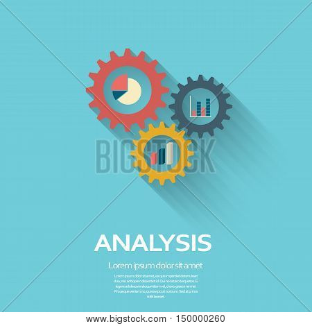 Business Analysis symbol with gears icon and pie chart, graphs. Long shadow flat design. Eps10 vector illustration.