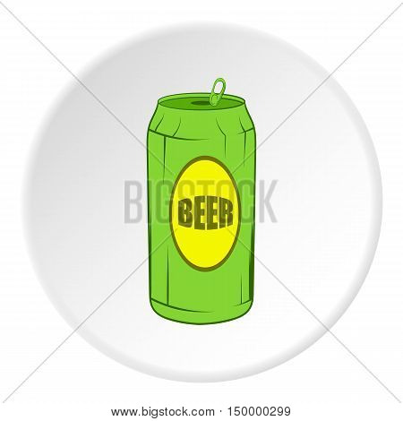 Aluminum beer icon in cartoon style on white circle background. Drink symbol vector illustration