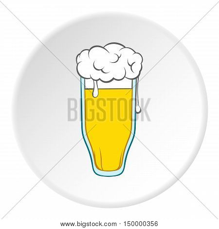 Tall glass of beer icon in cartoon style on white circle background. Drink symbol vector illustration
