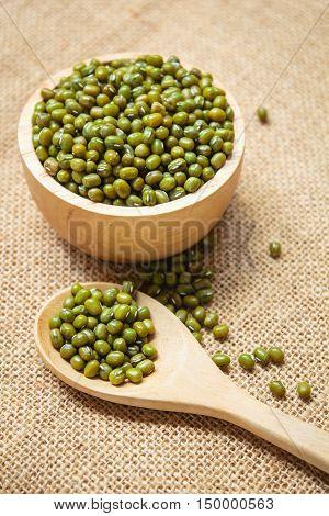 Green bean or mung bean seeds background.