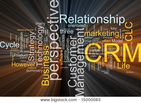 Word cloud concept illustratie van CRM Customer Relationship Management gloeiende lichteffect