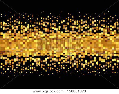 Pixel background, Pixel Effect, Geometric background with gold squares, Vector illustration
