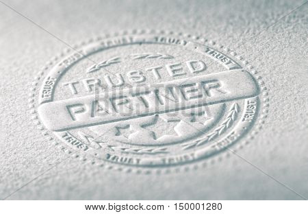 3D illustration of an embossed stamp with the text trusted partner Paper background and blur effect. Concept of confidence in business relationship.