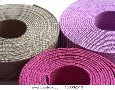 Hanks Of Cotton Webbing Isolated On White Background