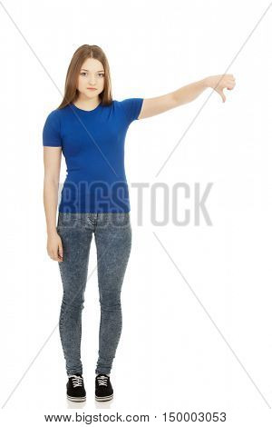 Young woman with thumbs down.