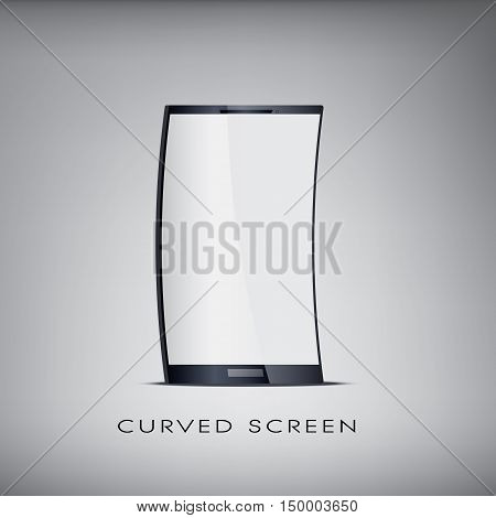 Curved or flexible blank realistic smartphone for promotional and advertising purposes with space for your text. Eps10 vector illustration