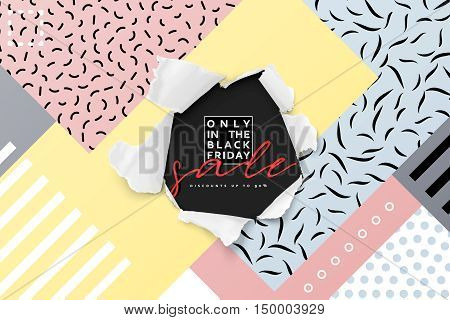 Black friday, card for sale beautiful design is illustration with torn paper gap. Big sale discount selling tag, posters promotional material. Text handmade calligraphy.
