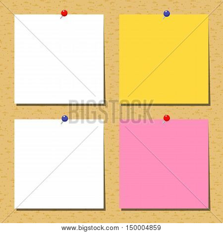 Cork Board With Notes.  Vector illustration. Flat background