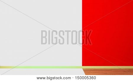 The interior of an empty room half-colored. Red wall moldings and parquet wood. 3d illustration