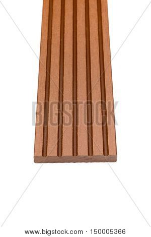 Woody composite skirting material for decking planks isolated on white