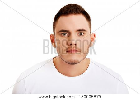 Portrait of young angry man