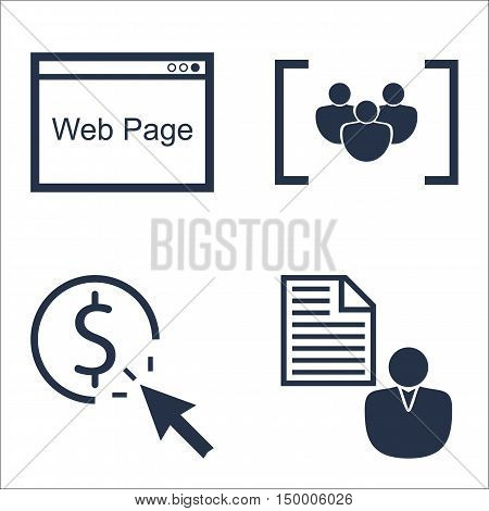 Set Of Seo, Marketing And Advertising Icons On Pay Per Click, Client Brief, Web Page And More. Premi
