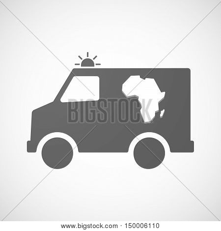 Isolated Ambulance Icon With  A Map Of The African Continent
