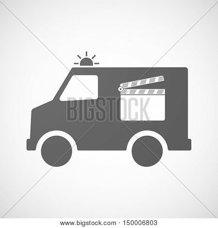 Isolated Ambulance Icon With A Clapperboard
