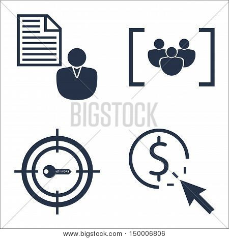 Set Of Seo, Marketing And Advertising Icons On Target Keywords, Client Brief, Focus Group And More.