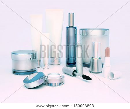 A face cream skin cream round eyes serum and lip balm lipstick mascara nail varnish. Care of skin. 3D illustration