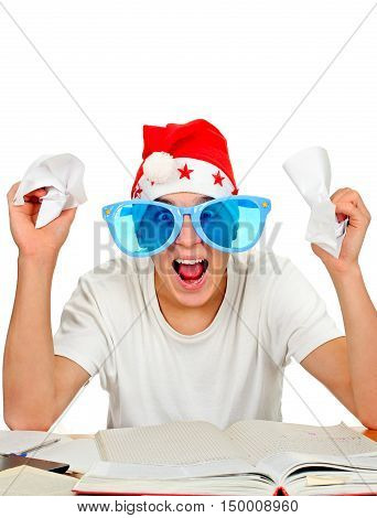Nervous Teenager in Santa Hat and Big Blue Glasses on the White Background