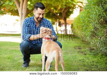 Man Having A Good Time With His Dog