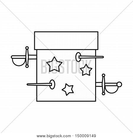 Box of tricks with daggers icon in outline style isolated on white background. Tricks symbol vector illustration