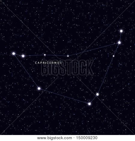 Sky Map with the name of the stars and constellations. Astronomical symbol constellation Capricornus