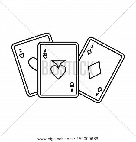 Playing cards icon in outline style isolated on white background. Game symbol vector illustration