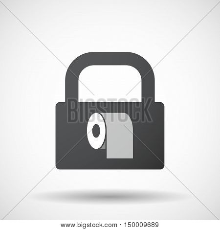 Isolated Lock Pad Icon With A Toilet Paper Roll