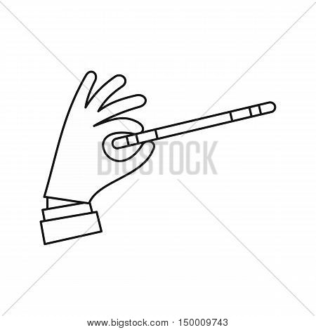 Hand with magic wand icon in outline style isolated on white background. Tricks symbol vector illustration