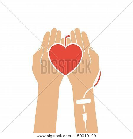 Blood donation concept. Heart in hand connected to a drip. Vector illustrations flat design. Blood donor day.