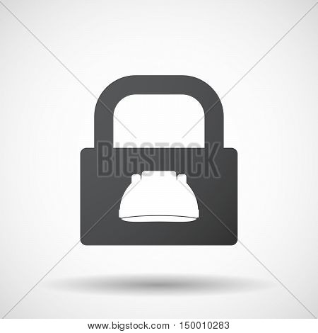 Isolated Lock Pad Icon With A Work Helmet