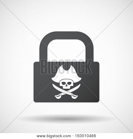 Isolated Lock Pad Icon With A Pirate Skull