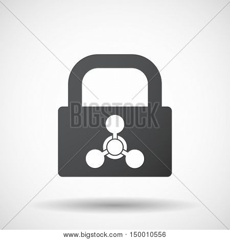 Isolated Lock Pad Icon With A Chemical Weapon Sign