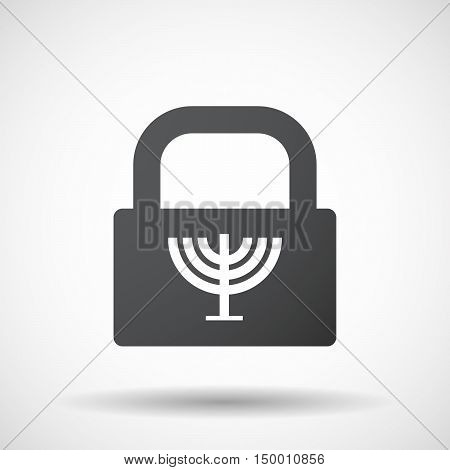 Isolated Lock Pad Icon With A Chandelier